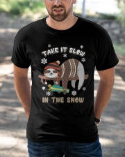 Take It Slow In The Snow Sloth Christmas Classic T-Shirt apparel-classic-tshirt-lifestyle-front-50