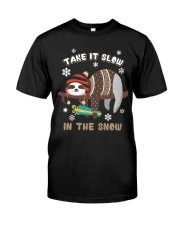 Take It Slow In The Snow Sloth Christmas Classic T-Shirt front
