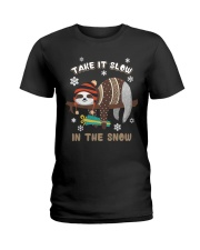 Take It Slow In The Snow Sloth Christmas Ladies T-Shirt tile