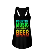 Country music and beer that's why i'm here Ladies Flowy Tank tile