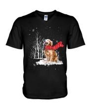 Golden Retriever Snow V-Neck T-Shirt thumbnail