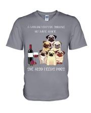 Woman Need Pugs V-Neck T-Shirt thumbnail