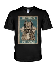 Pitbull Resting V-Neck T-Shirt thumbnail