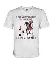 Woman Needs Pitbull V-Neck T-Shirt thumbnail