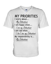Chihuahua My Priorities  V-Neck T-Shirt thumbnail