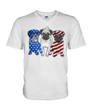 Pugs Flag V-Neck T-Shirt thumbnail