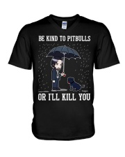 Be Kind To Pitbulls V-Neck T-Shirt tile