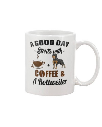 Rotweiler and Coffee its GOOD DAY