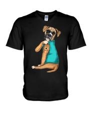 Boxer Mom  V-Neck T-Shirt thumbnail