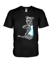Pitbull Dad V-Neck T-Shirt thumbnail