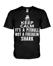 Pitbull Its Not Shark V-Neck T-Shirt thumbnail