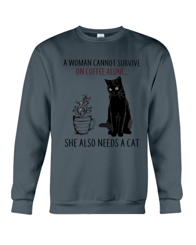 Woman Need Cat Coffee