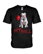 Pitbull Halloween  V-Neck T-Shirt thumbnail