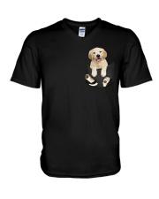 Golden Retriever Pocket V-Neck T-Shirt thumbnail