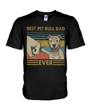 Pitbull Dad V-Neck T-Shirt thumbnail