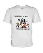 Rabbit Make Me Happy V-Neck T-Shirt thumbnail
