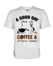 German shepherd and coffee  V-Neck T-Shirt tile