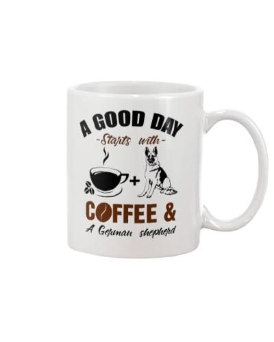 German shepherd and coffee