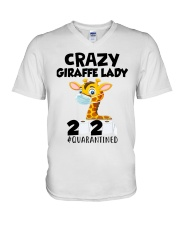 Giraffe Crazy Lady V-Neck T-Shirt thumbnail