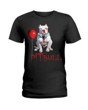 Pitbull Halloween is Coming Ladies T-Shirt tile