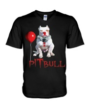 Pitbull Halloween is Coming V-Neck T-Shirt tile