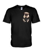 Pug In Pocket V-Neck T-Shirt thumbnail