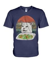 Cat At Dinner V-Neck T-Shirt thumbnail