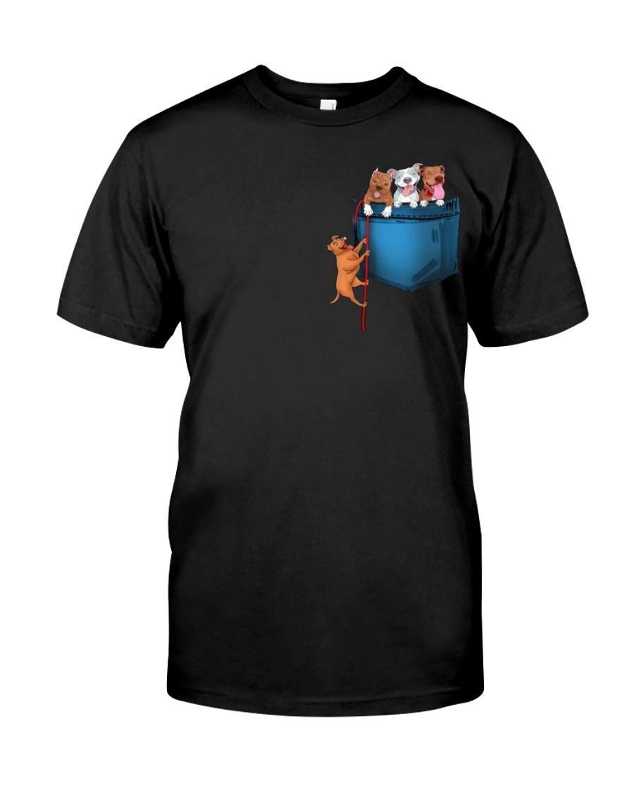 Pitbulls in Pocket  Classic T-Shirt