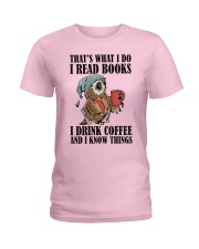 Owl i Read Books i Drink Coffee  Ladies T-Shirt thumbnail