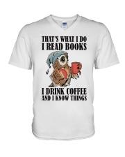 Owl i Read Books i Drink Coffee  V-Neck T-Shirt thumbnail
