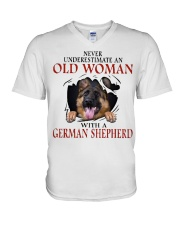 Old Women With Gsd V-Neck T-Shirt thumbnail