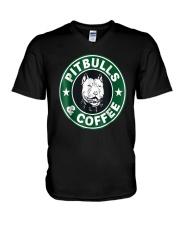 Pitbull Coffee V-Neck T-Shirt thumbnail