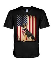 German Shepherd Flag V-Neck T-Shirt thumbnail
