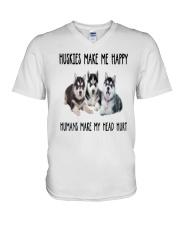Husky Make Me Happy V-Neck T-Shirt thumbnail
