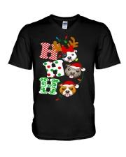 Pitbull Christmas V-Neck T-Shirt thumbnail
