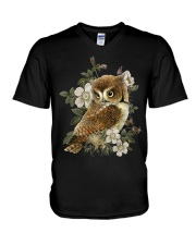 OWL AND FLOWERS  V-Neck T-Shirt thumbnail