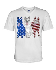 German Shepherd Flag V-Neck T-Shirt thumbnail