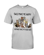 Owls Make Me Happy Classic T-Shirt front