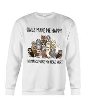 Owls Make Me Happy Crewneck Sweatshirt thumbnail