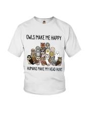 Owls Make Me Happy Youth T-Shirt thumbnail