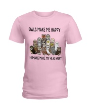 Owls Make Me Happy Ladies T-Shirt thumbnail