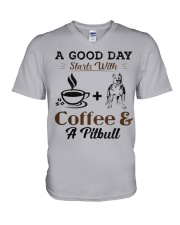 A Good Day Starts With Pitbull and Coffee V-Neck T-Shirt thumbnail