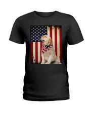 Golden Retriever Flag Ladies T-Shirt thumbnail