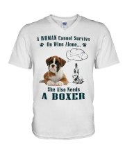 Woman Needs A Boxer V-Neck T-Shirt tile