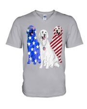 Golden Retriever Flag V-Neck T-Shirt thumbnail
