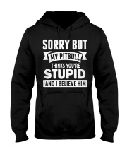 Pitbull Thinks You're Stupied Hooded Sweatshirt thumbnail