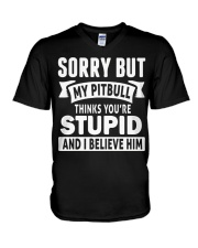 Pitbull Thinks You're Stupied V-Neck T-Shirt thumbnail