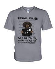 Dachshund Stalker V-Neck T-Shirt thumbnail