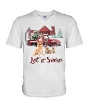GOLDEN RETRIEVER LET IS SNOW V-Neck T-Shirt thumbnail
