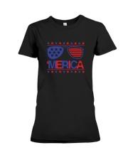American Flag Sunglasses T-Shirt Premium Fit Ladies Tee thumbnail